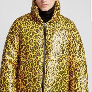 CHARM'S Sequin Leopard Print Puffer Jacket Unisex